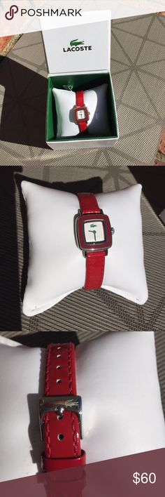 Lacoste Square Red Thin Band Women's Analog Watch This watch is a great way to up your wardrobe game for a small investment. This watch has been in rotation in my collection for a while and always makes me feel confident in business meetings and sales deals. It comes in the original box with all original literature. It has its own storage pillow and the cutest tiny alligators on the watch face and on the clasp. You're getting a deal here!  And I'm off to buy more watches... Lacoste…