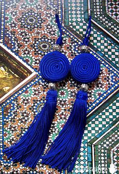Moroccan Tassels Earrings_Royal Blue