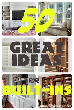 A round-up of ideas and inspiration for built-ins. Also looking beyond bookcases at different kinds of built-ins for different areas throughout the home! Built In Shelves, Built Ins, Home Goods Decor, Diy Home Decor, Home Design, Interior Design, Modern Interior, Home Improvement Projects, Home Projects
