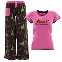 Lazy One Text Moose-aging Pajama Set for Juniors
