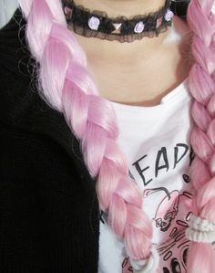 pink hair, braids, choker