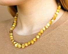 Baltic Amber Jewelry: Natural Amber Necklaces by AmberByTorvela Amber Earrings, Amber Bracelet, Amber Beads, Pearl Necklace, Beaded Necklace, Beaded Bracelets, Necklaces, Baltic Amber Jewelry, Amber Stone