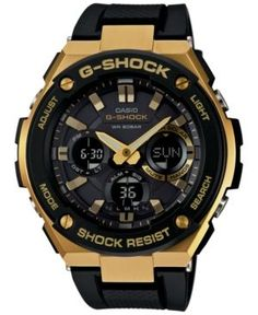 4af42c0cf61 G-Shock Men s Analog-Digital Black and Gold Black Silicone Strap Watch  59x52 GSTS100G-1A Jewelry   Watches - Watches - Macy s