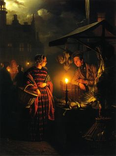Market Place by Candlelight. Petrus van Schendel