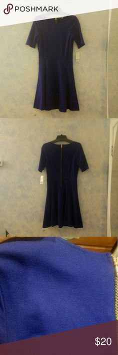 BAR III winter cocktail dress. Color: Cobalt blue Never worn!!! 1/4 sleeves, hem line just above the knee. Material: rayon and nylon. Fabric: fairly thick but not bulky. Color: Cobalt blue. Bar III Dresses Midi