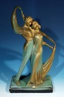 Original Vintage Art Deco Plaster Figure Group Circa 1930.
