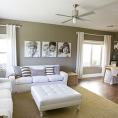 living room accent wall, I love the idea of large black and white photos