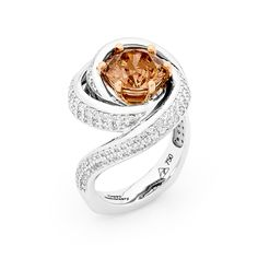 White Gold Paved swirl surrounds 2.72ct Argyle Chocolate Diamond