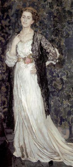 ▴ Artistic Accessories ▴ clothes, jewelry, hats in art - Alexander Golovin | Portrait of Marina Erastovna Makovskaya