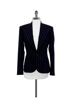Ralph Lauren Collection- Black Wool Pinstripe Blazer Sz 6 | Current Boutique