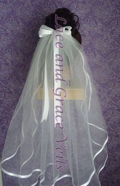 First Holy Communion Veil with Bow on Comb or by LaceandGraceVeils, $29.00