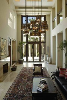 Double height main reception with fireplace Interior Design, House, Home Accessories, Home, Furnishings, Interior, Home Decor, Suites, Furniture Layout