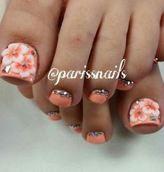 Orange floral rhinestone nails nailart Toenail Art Designs, Pedicure Designs, Pedicure Nail Art, Toe Nail Art, Pretty Toe Nails, Cute Toe Nails, Fun Nails, Bling Acrylic Nails, Rhinestone Nails
