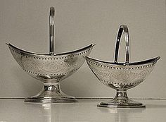 Hester Bateman pair of Georgian Silver Baskets, London 1788 from louiswineantiques on Ruby Lane Silver Pooja Items, Gold Glass, Wood Sculpture, Precious Metals, Antique Silver, Silver Plate, Silver Jewelry, Sterling Silver, Crystals