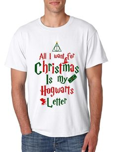 Men's T Shirt All I Want For Xmas Is Hogwarts Letter Holiday Gift Men's Long Sleeve All I Want For Xmas Is Hogwarts Letter Cool Gift #christmas #hogwarts #uglychristmassweater #harrypotter #tshirt