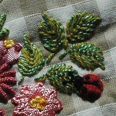 Lady Bug picture tutorial..combination of silk ribbon and thread embroidery...site can be translated...picture is worth a thousand words