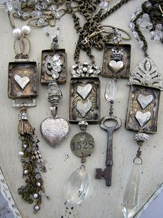 Jewelry made from vintage bits and pieces such as old jewelry bits, keys and chandelier crystals.