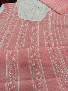 Designer lucknavi chikan cotton suit length with fine murri work in flair pattern along with kaamdhani work on neckline with pure chiffon duppata #chikankari $84.5