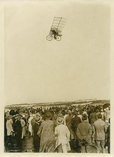 """CIRCA """"The photography shows Max Wiedenh?ft with his flying rocket bike over the Tempelhofer field in Berlin, It's an april fool and a photomontage, Photograph around Photo by Imagno/Getty Images. Photomontage, Old Pictures, Old Photos, Foto Fantasy, Bike Photo, Vintage Photographs, Historical Photos, Caricature, The Past"""