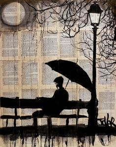 """Saatchi Online Artist: Loui Jover; Ink 2013 Drawing """"reminisce""""-- i want to try drawing/painting over pages like this."""