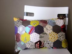 hexagonal patchwork pillow by Pink Lemonade Boutique on Etsy
