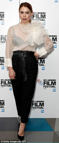 Hell for leather: Loose fitting black trousers, black heels and a leather belt added to the look Festival 2016, Film Festival, Black Bra, Black Heels, Billie Piper, Black Trousers, Celebrity Red Carpet, Peplum Dress, Belt