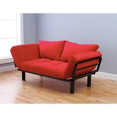 Good small futon idea @Overstock - This unique and versatile lounger easily converts from a chair to a lounger or bed. This contemporary stylish metal lounger is highlighted with a stylish upholstered mattress and two pillows.   http://www.overstock.com/Home-Garden/Eli-Spacely-Multi-Flex-Daybed-Lounger-in-Black-Metal-and-Posh-Rose-and-Pilllows-Set/7278578/product.html?CID=214117 $326.69