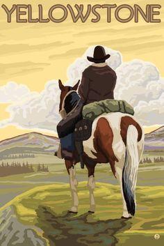 Yellowstone National Park, Wyoming- Cowboy & Horse - Lantern Press Artwork (16x24 Gallery Quality Metal Art), Multi
