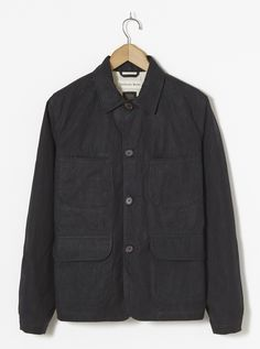 Universal Works Labour Jacket in Black Scottish Wax Cotton