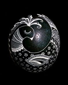 Eggs by Teresa- Black and White ostrich pysanky