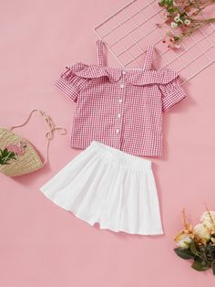 To find out about the Girls Button Up Cold Shoulder Gingham Top & Shorts Set at SHEIN, part of our latest Girls Two-piece Outfits ready to shop online today! Ashley Clothes, Striped Cami Tops, Stylish Little Girls, Baby Dress Design, Girl Outfits, Fashion Outfits, African Fashion Dresses, Two Piece Outfit, Plus Size Outfits