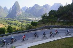 Cycling among the limestone hills in Guilin