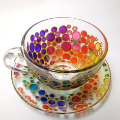 Tea Cup and Saucer, Sun catcher cup and saucer set, Hand Painted Multi Coloured Bubbles Glass Teacup Set This is a bright glass tea set with hand Cup And Saucer Set, Tea Cup Saucer, Glass Tea Cups, My Cup Of Tea, Mug Cup, Afternoon Tea, Cookies Et Biscuits, Tea Time, Dinnerware