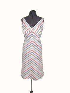 Vintage Designer Inspired Chevron Stripe Seersucker Big Bow Dress