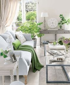 white traditional living room with lime green accents, silver accents, pantone greenery, lime green, Living Room Green, Living Room Paint, New Living Room, Living Room Interior, Living Room Furniture, Green Rooms, House Furniture, Furniture Stores, Style Salon