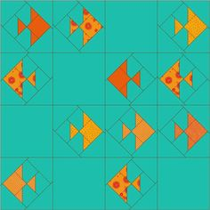 "12.5"" blocks. Need only 9 blocks for a touch quilt. Layout like bottom left leaves 3 touch blocks to fill. Fish can be any fabric, touchable. Prairie Points in some fish? Satin padded fish. Emerald Coast Modern Quilt Guild: March 2014 Block Lottery - Gold Fish Crackers"