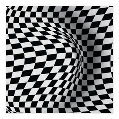 Black white op art optical illusion abstract custom print/poster, featuring a geometric B&W optical illusion chequered pattern of squares, rectangles and lozenges that looks stretched.