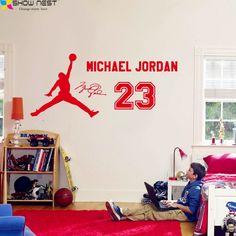 Michael Jordan 23 Wall Decal Vinyl Sticker, Kids Basketball Boys Idol Poster, Children Bedroom Wall Art Mural DIY Home Decor