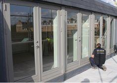 New engineered wood French doors 'Stone Grey' Window Frame Colours, Grey Window Frames, Grey Windows, House Windows, Windows And Doors, Barn Conversion Exterior, Barn Conversions, Aluminium French Doors, Grey Doors