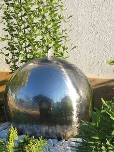 Solar Polished Sphere Water Feature Aqua Moda Solar Stainless Steel Sphere Garden Water Feature with LED Light