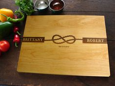 Tied The Knot Personalized Cutting Board Waterfront, Beach, Nautical, Destination Seaside Wedding Gift Bridal Shower Present