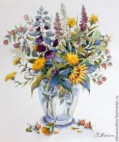 Купить Букет с одуванчиками и ягодами - желтый, оранжевый, осень, букет, ягоды, цветы, полевые цветы