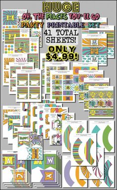 Dr Seuss Oh the Places You'll go Party Prntables Kit only $4.99 for 41 sheets!