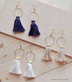Easy DIY {Anthropologie Knock-Off} Tassel Hoop Earrings   Made In A Day