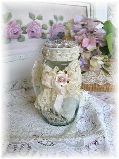 Lovely shabby chic jar ♥