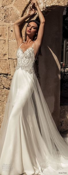 julie vino 2018 bridal thin strap sweetheart neckline heavily embellished bodice glamorous elegant sheath fit and flare wedding dress a  line overskirt open back chapel train (57) lv -- Romanzo by Julie Vino 2018 Wedding Dresses