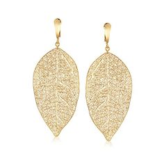 Gold Plated Filigree Leaf Drop Earrings - 85mm L YgbiAvv