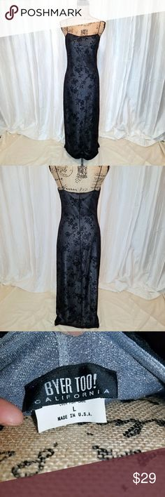Spectacular evening gown! This Byer California gown has two layers; the bottom silver shimmering layer and the black sheer top layer.  PERFECT CONDITION. Size large but fits more like a medium. Byer California  Dresses