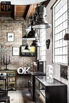 Industrial Style Loft with charming elements to add to your home decor. A breath of fresh air into your industrial style loft. In an industrial style world, the interior design project of today will m Industrial Kitchen Design, Vintage Industrial Decor, Industrial Living, Industrial Interiors, Industrial Style, Vintage Modern, Vintage Decor, Industrial Office, Industrial Bedroom