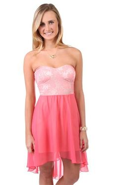 Deb Shops #peach strapless #lace bodice casual #dress with chiffon high low skirt